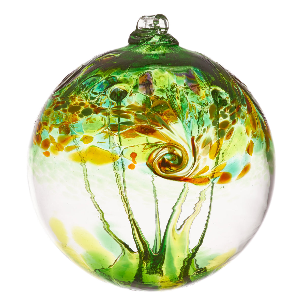 A large clear blown glass ornament whose main color is green with accents of yellow and orange. Dabs of color come together in a swirl at the midpoint, while webs of green glass stretch across the inside of the orb.