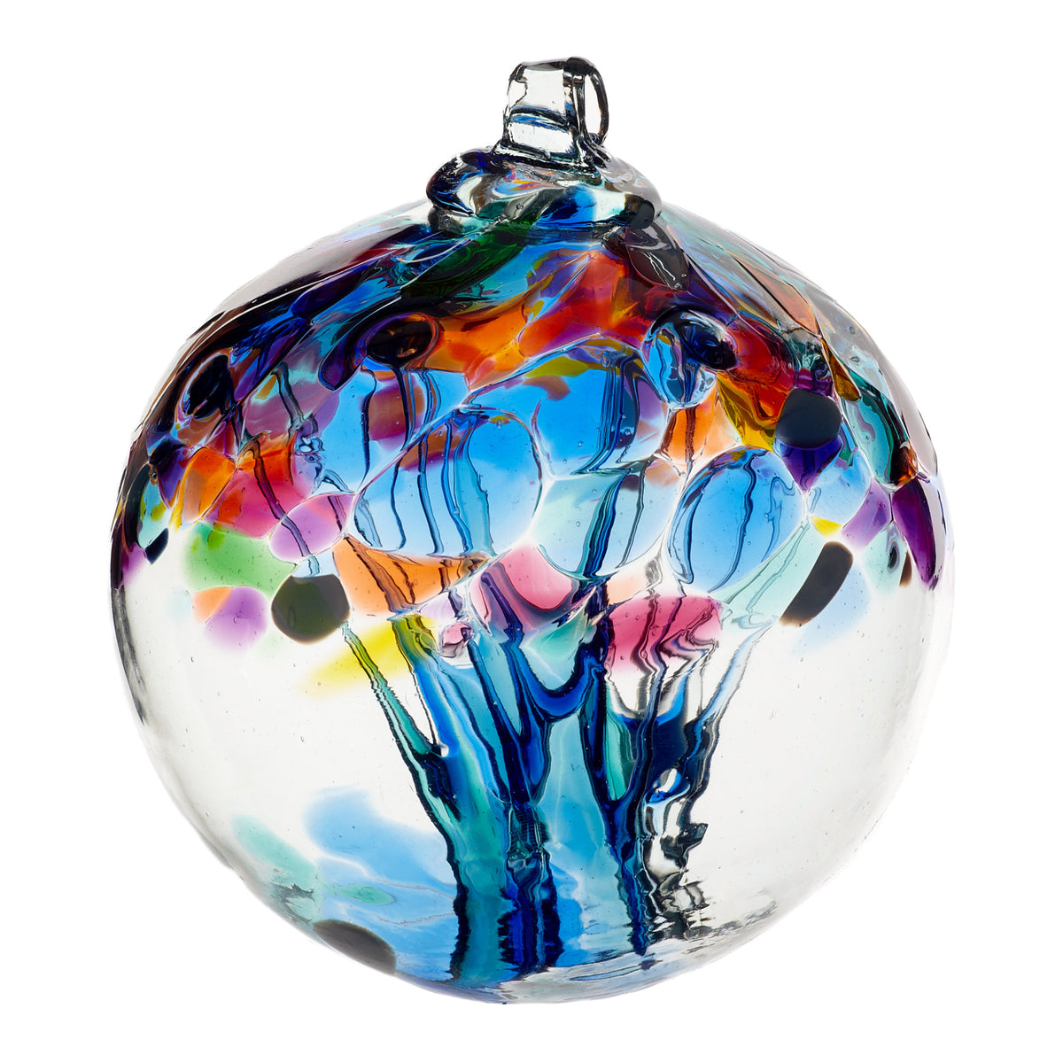 Clear glass ornament with accent colors of blue, pink, orange, and yellow. Strands of glass seem to stretch through the middle of the orb.
