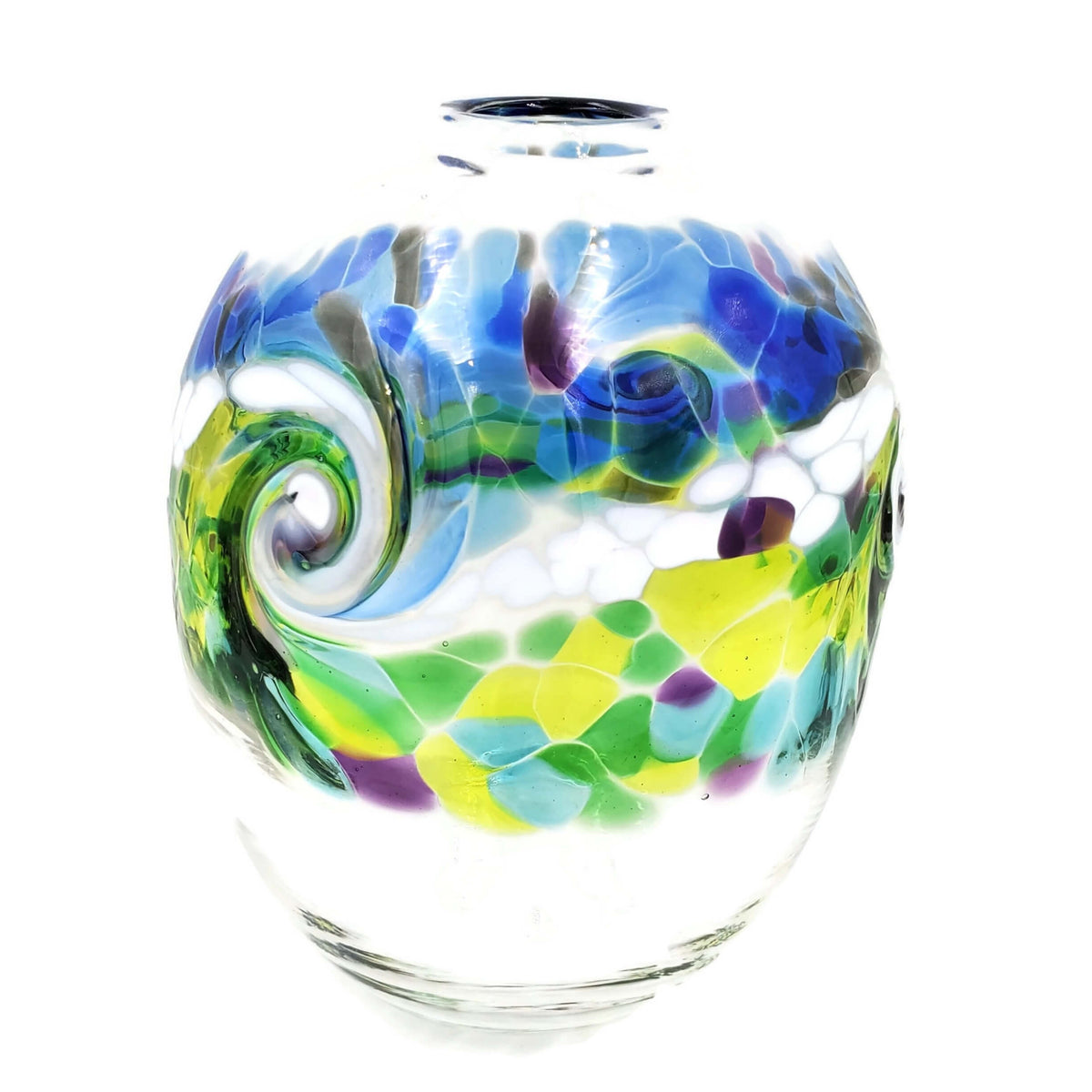 Hand-blown, clear glass oval shaped vase with wave-like green and white swirl  plus accent colors of purple, yellow, and blue.