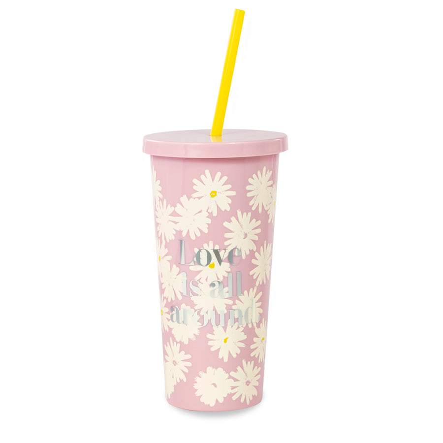 【限時88折】kate spade | 小白花冷飲隨行杯附吸管 Insulated Tumbler, Love Is All Around