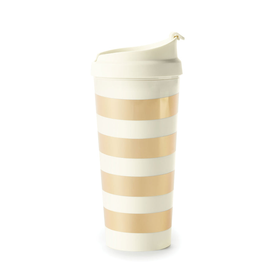 【限時88折】kate spade | 金典條紋冷飲杯  Thermal Mug, Gold Stripe