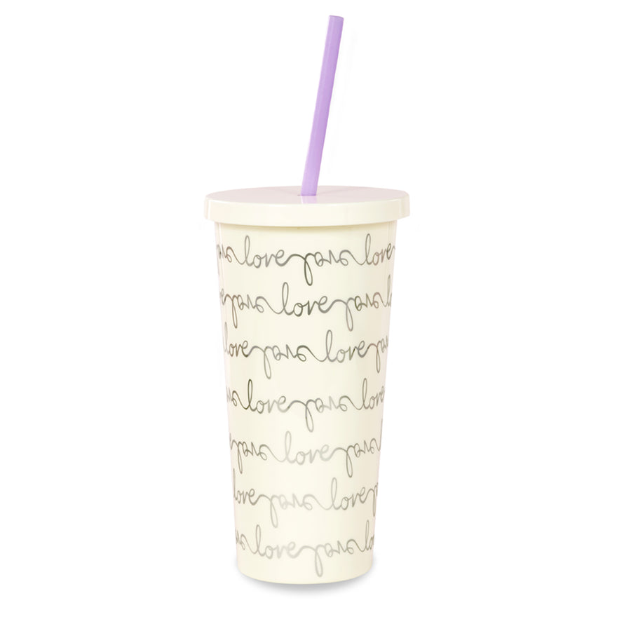 kate spade | 簡約手稿冷飲隨行杯附吸管 Insulated Tumbler, Love Script