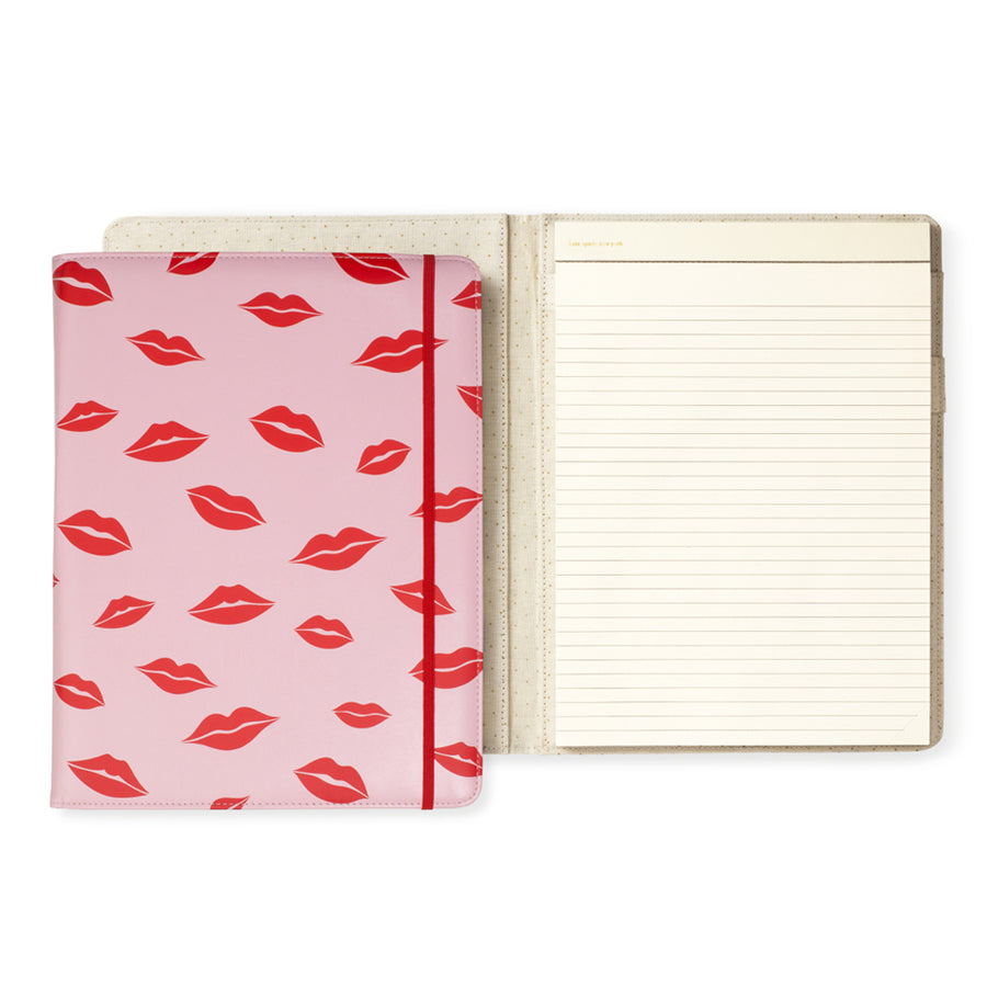 【限時88折】kate spade | 唇唇欲動紅印皮革筆記本 Notepad Folio,Lips