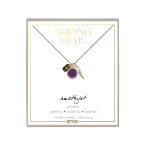 KITSCH | Amethyst Guiding Gems Cluster Charm Necklace 魅力水晶14K鍍金半寶石鎖片項鍊