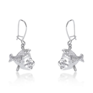 【補貨中】Couture Kingdom | Disney Jewellery 迪士尼小美人魚 小比目魚垂墜鍍14K白金耳環 Flounder Stud Earrings