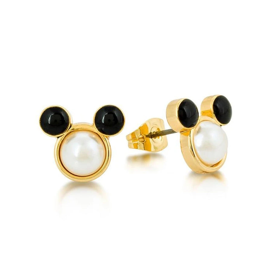 【新品上市】Couture Kingdom | Disney Jewellery 迪士尼 米奇經典款白珍珠鍍14K金耳釘 Disney Mickey Mouse Pearl Stud Earrings