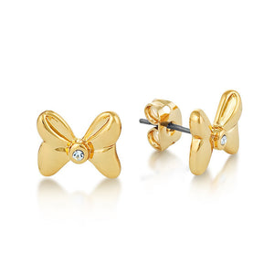 【補貨中】Couture Kingdom | Disney Jewellery 迪士尼米妮蝴蝶結水晶鍍14K金耳釘 Minnie Mouse Crystal Bow Studs