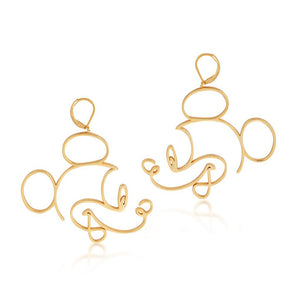【補貨中】Couture Kingdom | Disney Jewellery 迪士尼米奇鏤空線條鍍14K金耳環 Mickey Mouse Earrings