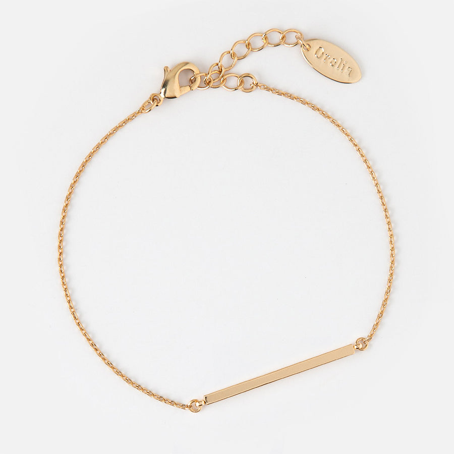 Orelia | HORIZONTAL GOLD BAR CHAIN BRACELET 細緻水平鍍金手鍊