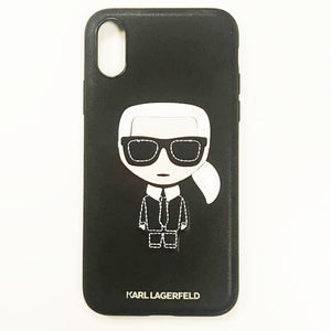 KARL LAGERFELD | IKONIK iPhone X 真皮手機殼-黑