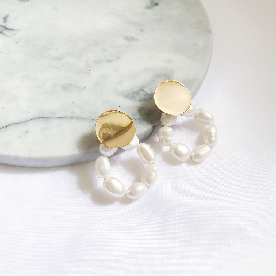 LESIS | Pearl Hoop Earrings