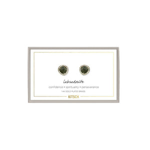 KITSCH | Labradorite Guiding Gems Earrings 翠綠光譜石14k鍍金寶石耳環