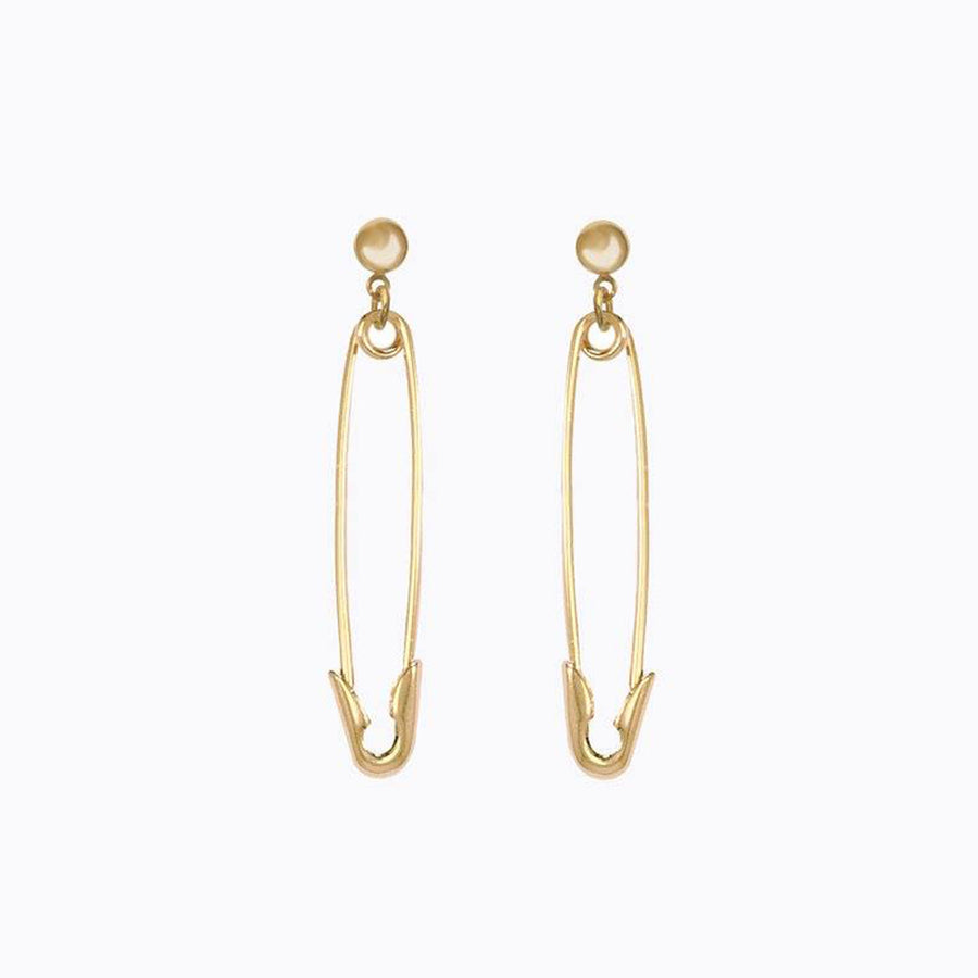 【Xmas限時88折】Eyland | Molly Safety Pin Earrings 赫拉鍍金別針吊墜風格耳環