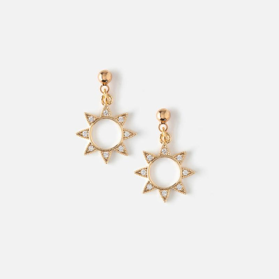 Orelia | CRYSTAL SUN CHARM STUD EARRINGS 水晶小太陽垂墜耳環