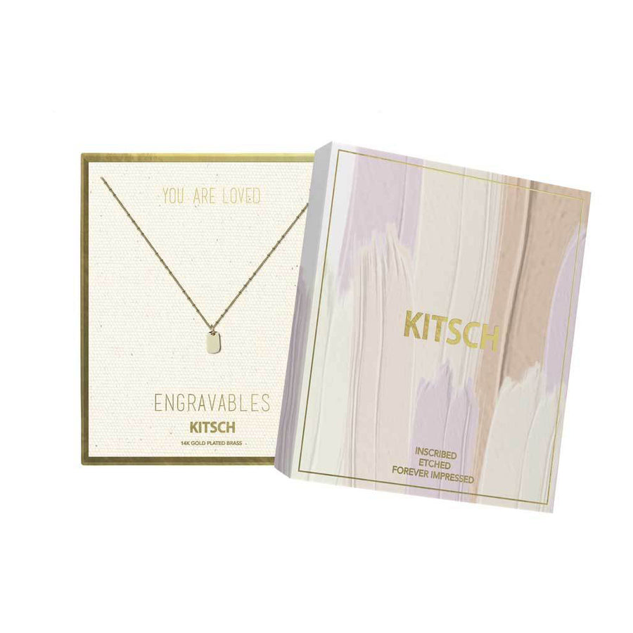 KITSCH |  Rectangle Tag Engravable Necklace 圓角鎖片拋光14K鍍金墜飾項鍊