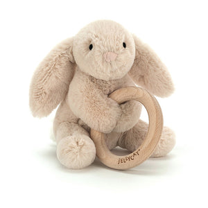 Jellycat | 風鈴玩偶固齒器 Shooshu Bunny Wooden Ring Toy