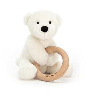 Jellycat | 風鈴玩偶固齒器 Shooshu Polar Bear Wooden Ring Toy