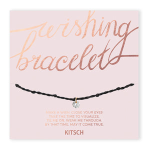 KITSCH | Shine Bright Wishing Bracelet - Black 閃耀透光方晶鋯石許願手鍊