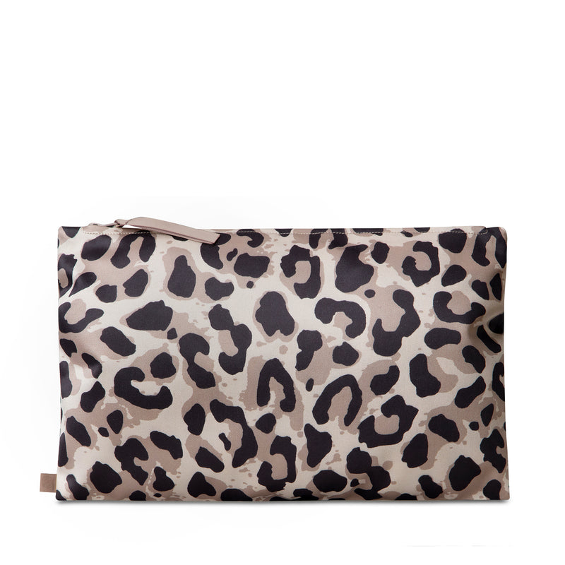 travel toiletry bag in leopard