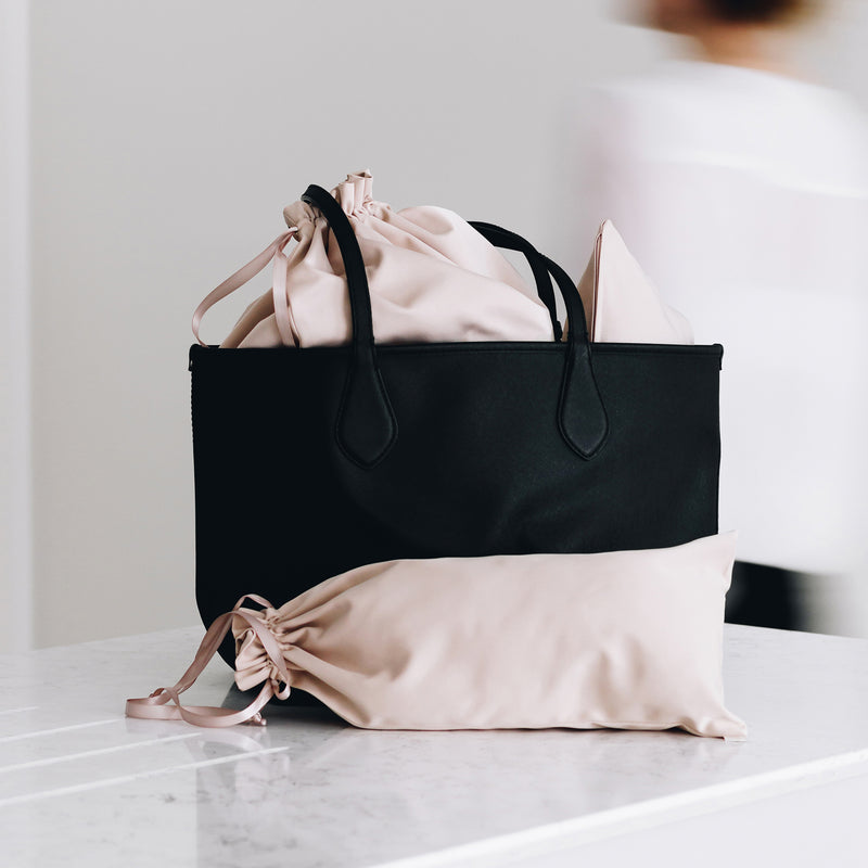 beige bag in bag