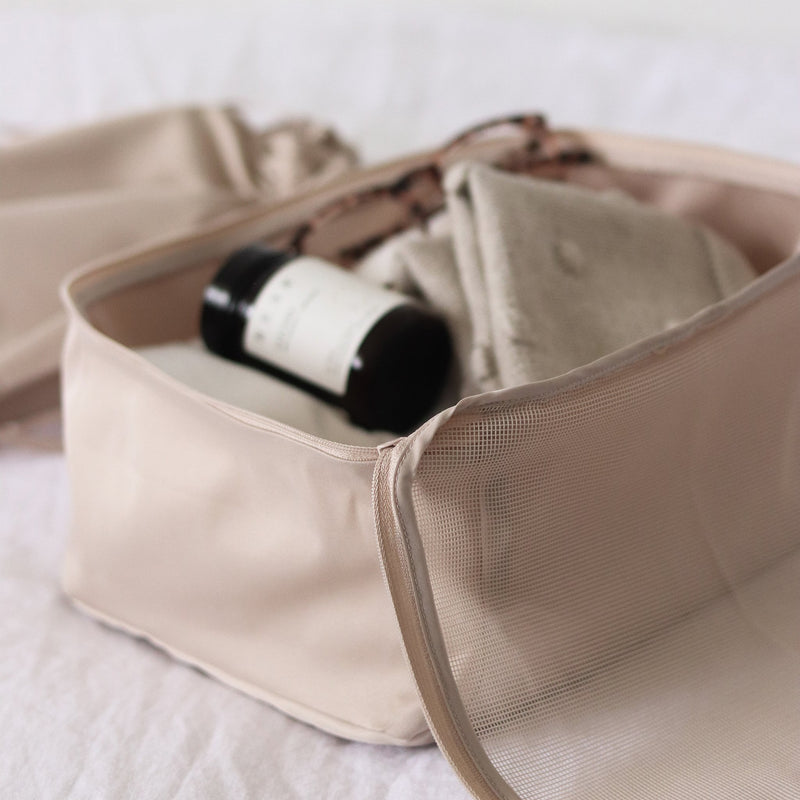 beige packing organizers