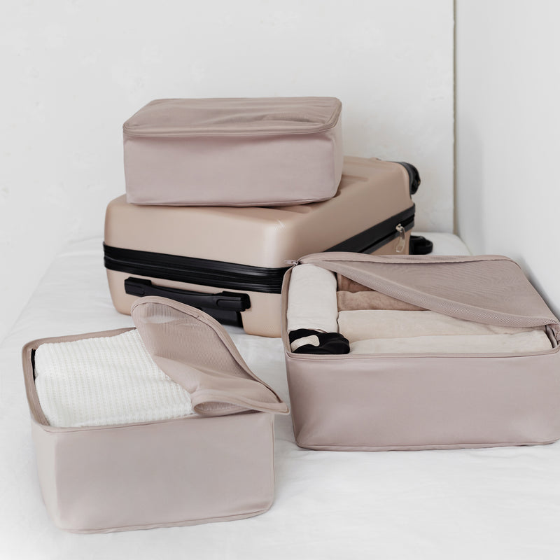 packing cube set for suitcase taupe