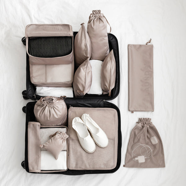 packing organizer set with cubes and bags