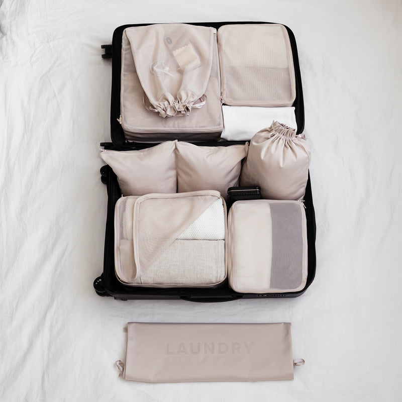 packing organizer set beige packing cubes
