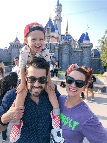 disneyland, happy couple, family, family couple at disneyland, castle, toddler boy with hat, sunglasses, nightmare before Christmas, summertime 2021