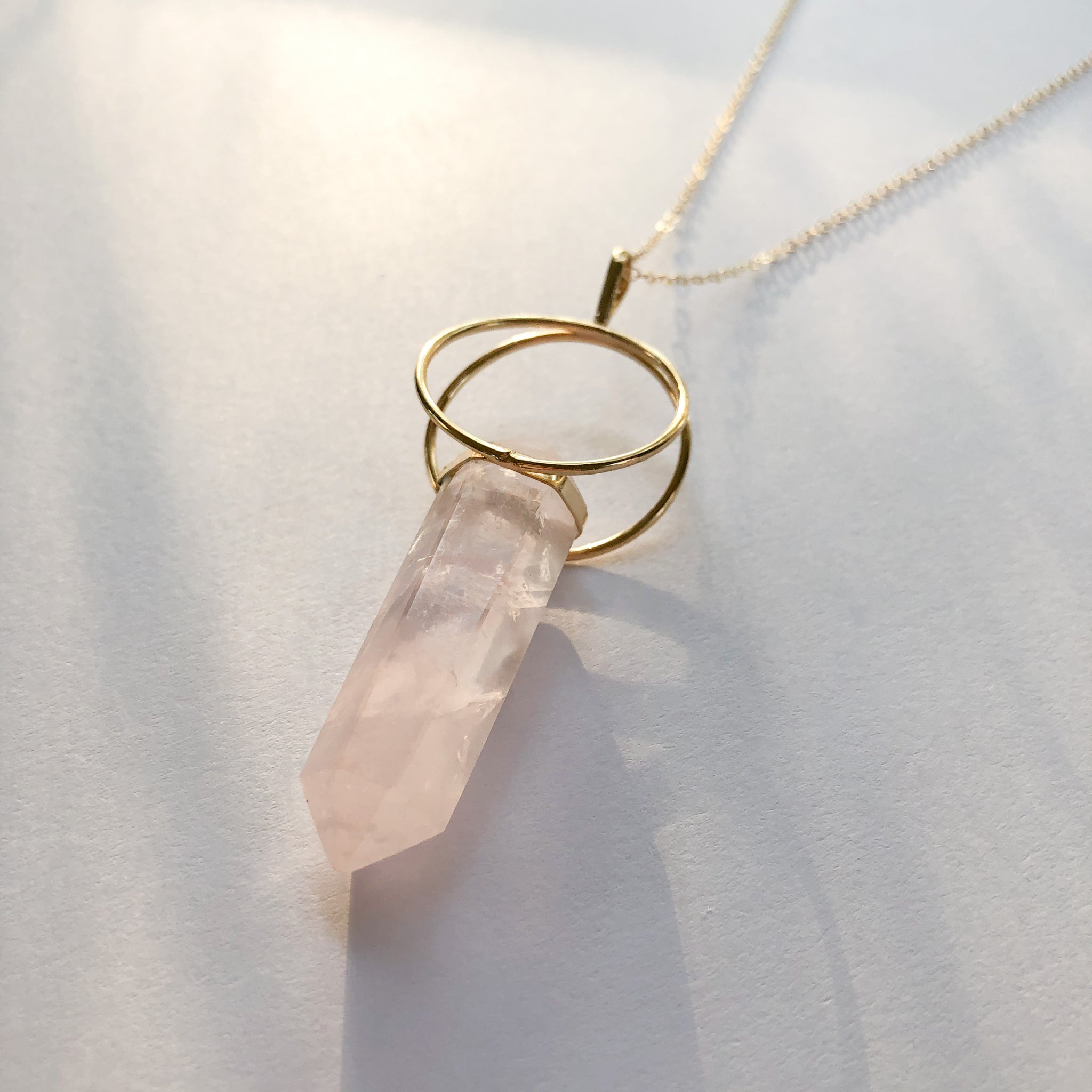 Double Hoop Rose Quartz Necklace