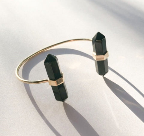 Double Point Black Onyx Cuff