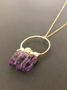 Triple Amethyst Point Necklace