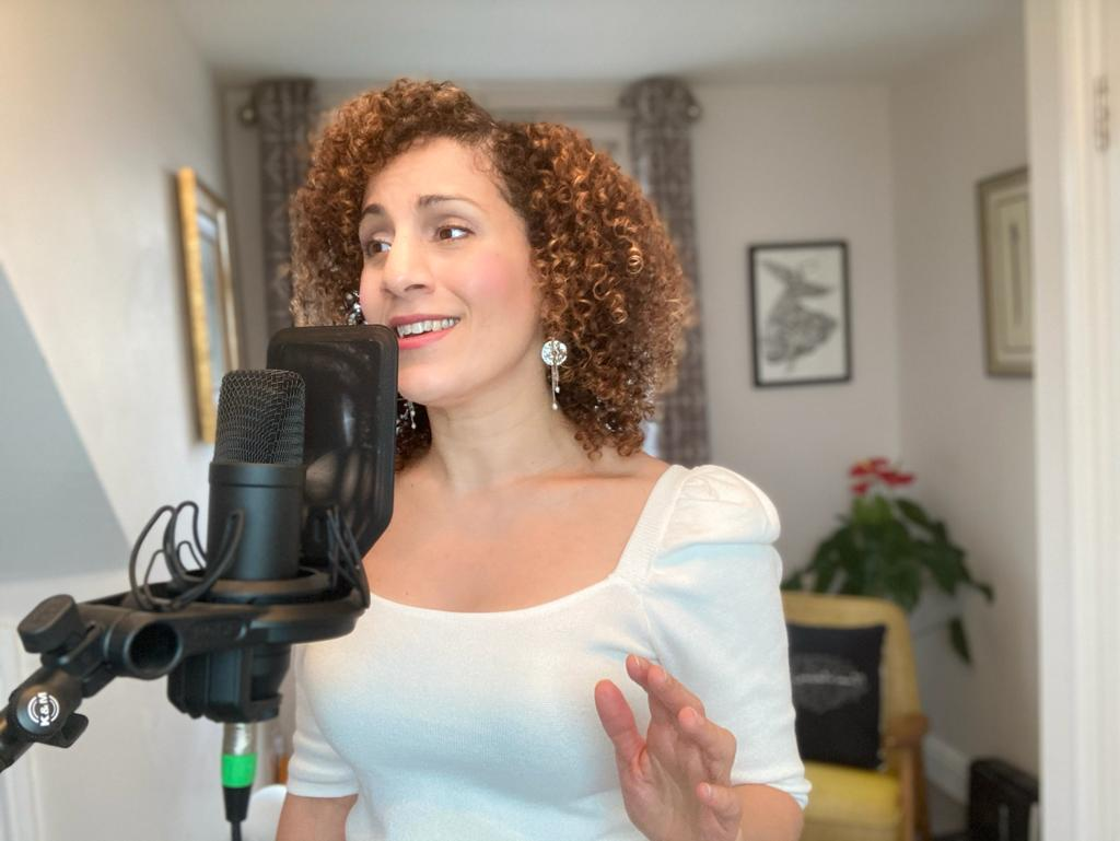 Daliah Merzaban recording her EP Fragrance of Truth