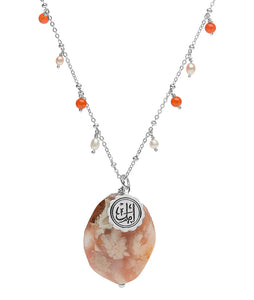 Amal (hope) peach sakura agate Arabic calligraphy necklace