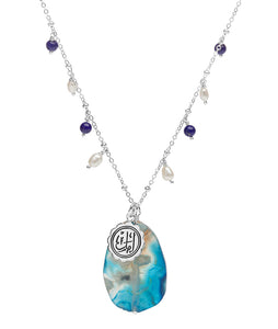 Amal (hope) blue sakura agate Arabic calligraphy necklace