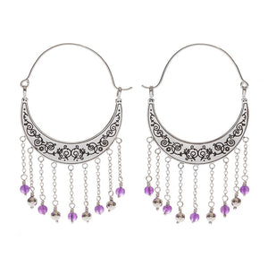 Amethyst Crescent Dangle Earrings