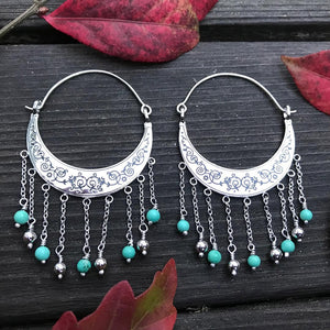Turquoise Crescent Dangle Earrings
