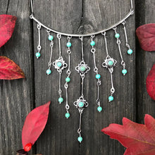 Silver Turquoise Waterfall Necklace