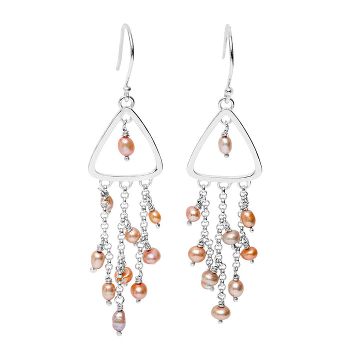 Pearl Waterfall Triangle Earrings: Autumn Tones