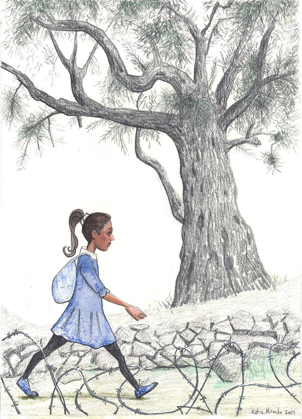 A Palestinian girl walks to school (SOLD)