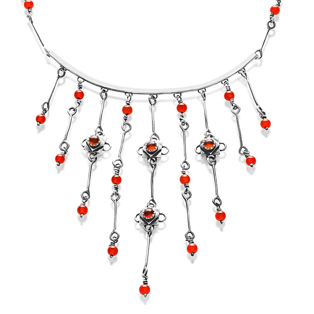 Silver Carnelian Waterfall Necklace