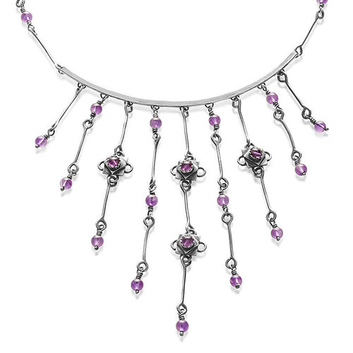 Silver Amethyst Waterfall Necklace