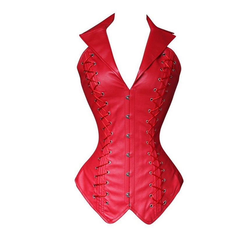 Body Shaper Waist Trainer Corset Leather Burlesque Gothic Clothing Sexy Lingerie Slimming Party Corset Bustier Shapewear For Women