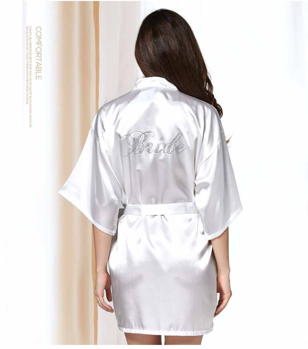 White Silk Bridal Bathrobe Night Dress Dressing Gown Robe Wedding Bride Sleepwear Nightwear For Women