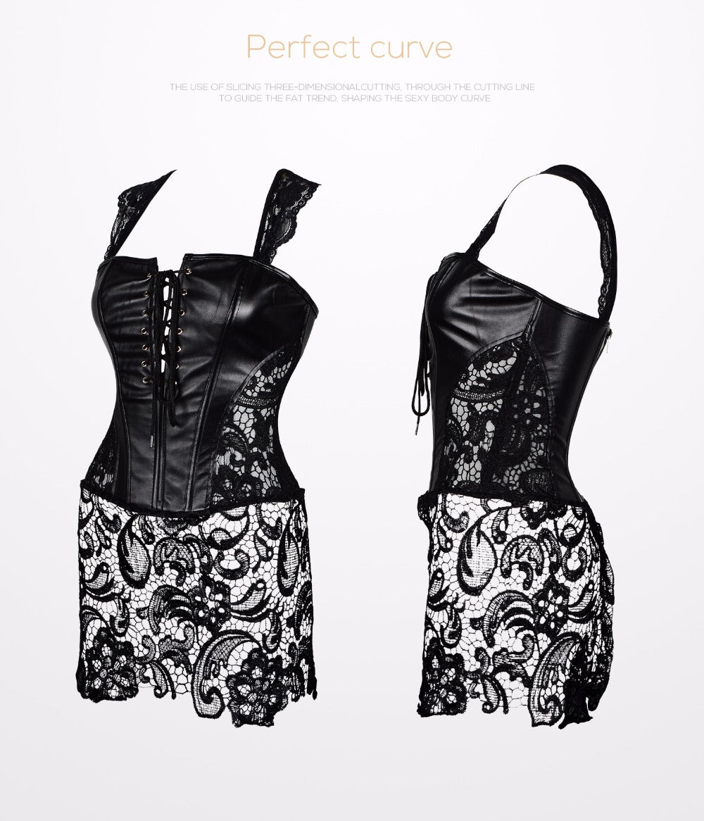 Burlesque Body Shaper Corset Steampunk Gothic Style Leather Shapewear Bustier