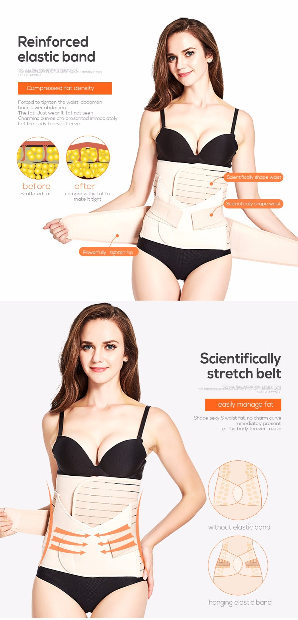 Waist Trainer Body Shaper Postpartum Corset 3-in-1 Slimming Belt Weight Loss Body Shaper Shapewear