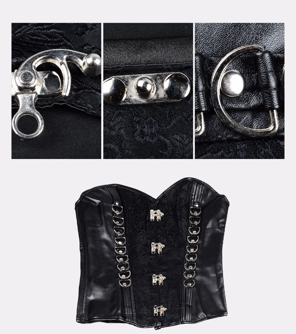 Waist Trainer Corset Leather Gothic Style Burlesque Waist Trainer Lingerie Shapewear Bustiers For Women