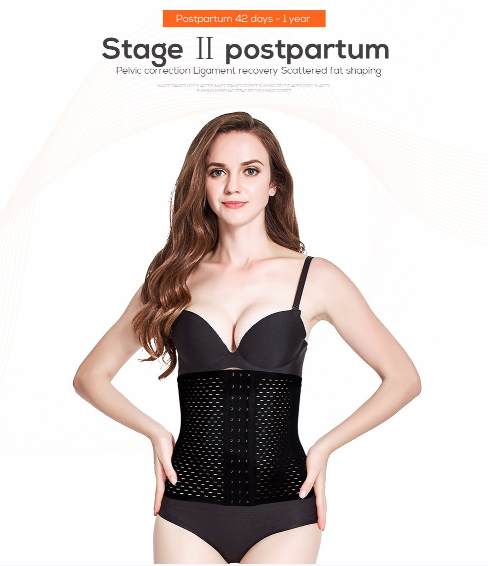 Waist Trainer Slimming Corset Hot Body Shaper - in Black or Apricot