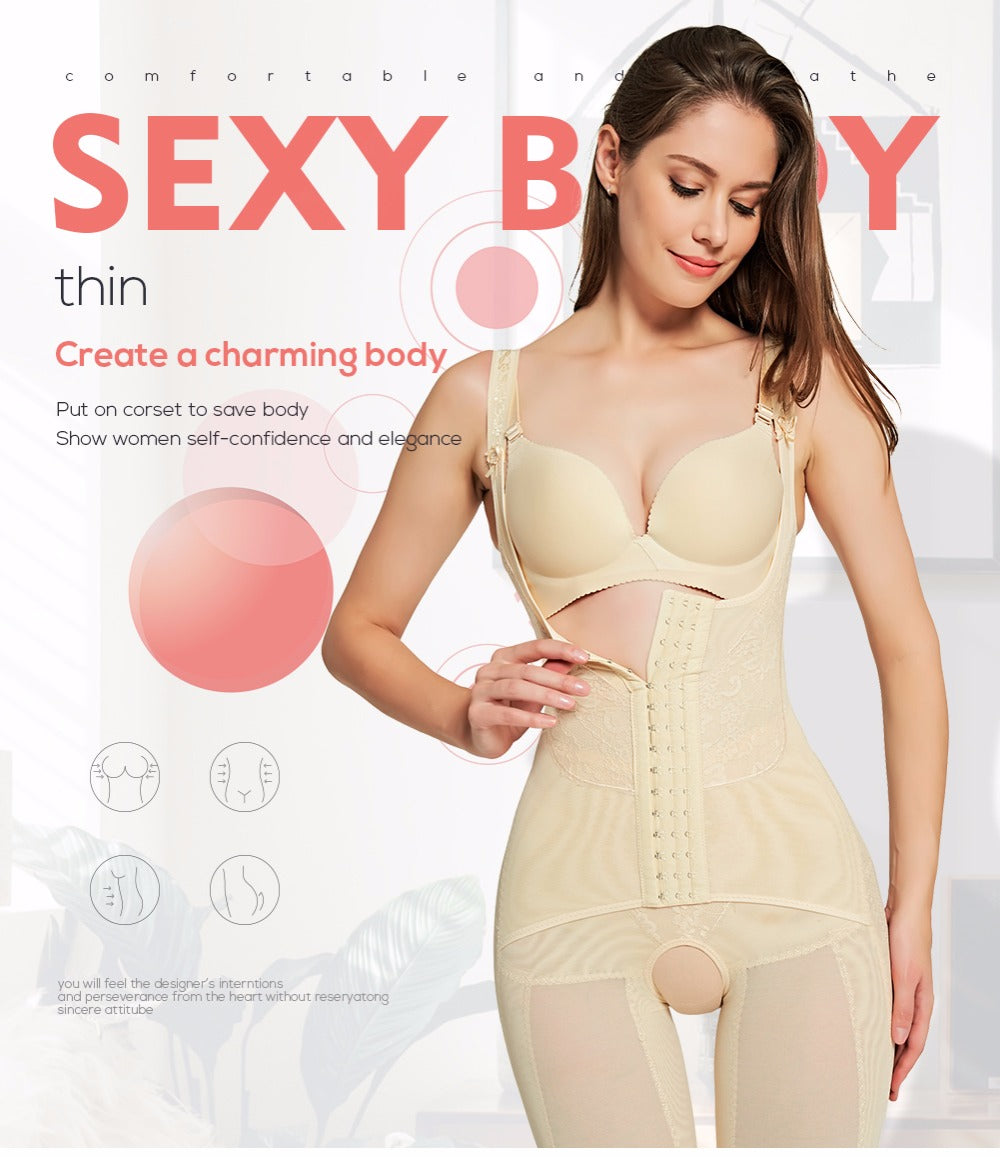e46fe855e Women s Full Body Shapewear Corset Bodysuit Body Shaper Waist Trainer  Slimming Underwear