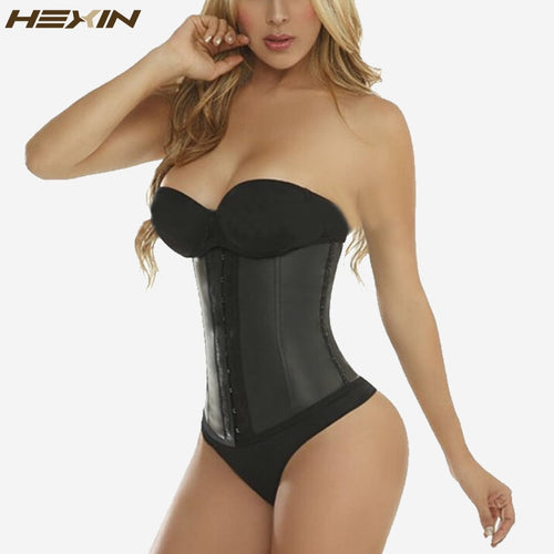 HEXIN 9 Steel Bones 100% Latex Waist Trainer Corset Sexy Women Body Shaper Waist Cincher Underbust Shapewear Slimming Belt 6XL